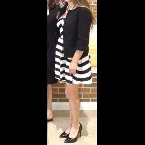 Black & White striped strapless dress